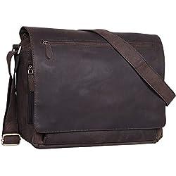 STILORD 'Jan' Maletín para portátil de 15,6' Cuero Estilo Vintage Bolsa de Hombro Bolso de Mensajero o Bandolera de auténtica Piel de búfalo, Color:marrón Oscuro - Opaco