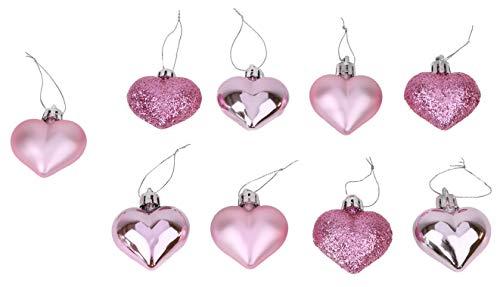 Decorazioni di natale 9 confezione da 40 mm multi finitura palline cuore - rosa