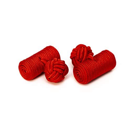 Hersteller: Bull & Drake 1 Paar Seidenknoten Manschettenknöpfe rot, Tönnchen Form Barrel Cufflinks Umschlagmanschette Hemd Bluse Anzug Suit Business Gentleman Stoffknoten Textilknoten British (1)