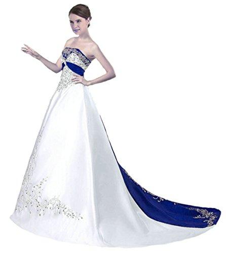 Vantexi Damen Trägerloses Wulstige Stickerei Hochzeitskleid Brautkleider Weiß Blau 42