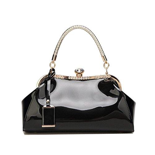Europäisch Und Amerikanisch Mode Brauttasche Lackleder Glänzend Einfach Handtasche Kristall Diamant Elegant Dame Handtasche Black