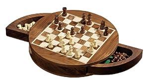 Philos 4014156027299 Tablero de ajedrez sencillo Juego de ajedrez para escritorio - Juegos de ajedrez (Tablero de ajedrez sencillo, Juego de ajedrez para escritorio, Ovalado, Marrón, Boxwood, Madera, Marrón, Madera natural)