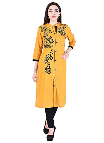 Vaachi long kurti embroidered kurti cotton Slub kurti (Medium)