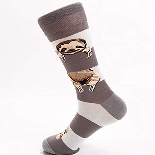 QZHE Socken Winter-Animal-Print Gestreifte Herrensocken Atmungsaktiv Weich Und Bequem Lässig Baumwollsocken (5 Stück) -