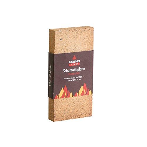 KaminoFlam Schamottstein für Kaminofen - Schamotteplatten für Ofen - Schamottplatten hitzebeständig bis 1250 Grad -  Vermiculite Platten 250x124x30 mm (Schornstein Ziegel)