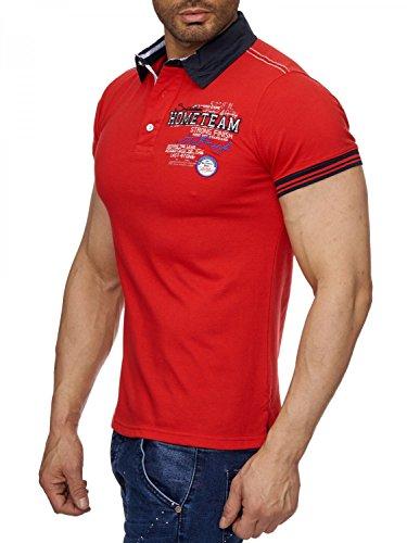 Herren Polo-Shirt (Slim Fit) Sportliches Polo Kurzarm-Shirt aus Baumwoll-Polyester-Mix, T-Shirt mit Stickereien und klassischem Polo-Kragen H1490 in Markenqualität Rot