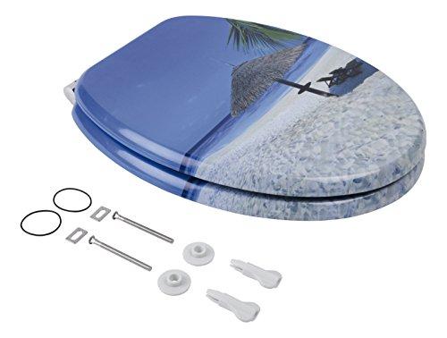 Sanlux 40384 9 Sitz Ocean View, Toilettensitz, WC-Brille aus Holz, Soft-Close-Absenkautomatik, Klodeckel, Toilettendeckel, Metall-Scharnier, Dekor, Universal