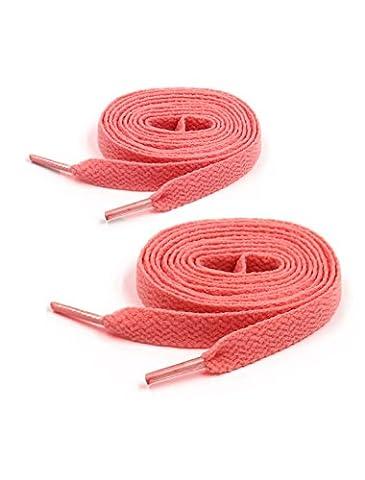 Unisexe 2 Paires Plastique Bout Plat Toile Baskets Shoeslaces Fil