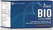 3 Guys Premium Hydrolyzed Collagen Powder Supplement for Skin, Hair, Nails, Joints and Bones (Collagen 15 g X