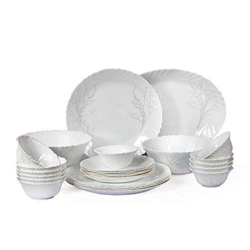 Cello Imperial Winter Frost Opalware Dinner Set, 27 Pieces, White