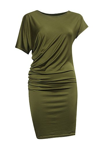 PU&PU Robe Aux femmes Gaine Sexy / Simple,Couleur Pleine Col Arrondi Au dessus du genou Polyester ORANGE-XL