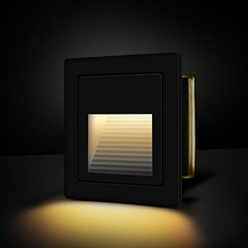Yissvic - Faretto da incasso a LED, 3 W, IP67, impermeabile, 2700 K, luce bianca calda, colore: nero Nero