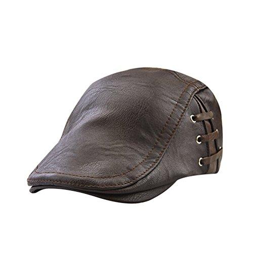 OULII Herren Leder Schirmmütze Vintage (Dunkelbraun) Leder Driving Caps Für Männer