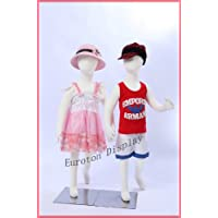 Eurotondisplay R4x2 95cm 2 children mannequins with flexible bendable body, arms and legs girl or boy children mannequin child full body manikin window dummy