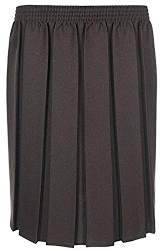 adam & eesa Girls Box Pleated Skirt School Uniform Elastic Skirts Grey Navy Black Ages 2-16 (3-4 Years, Brown) -