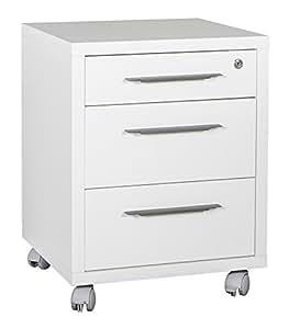 cassettiera ufficio tre cassetti color bianco laccato