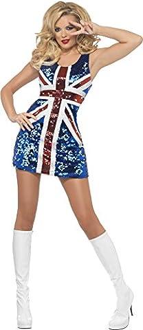 Fever, Damen All that Glitters Rule Britannia Kostüm, Kleid, Größe: L, 25001 (Smiffys Fever Kostüme)