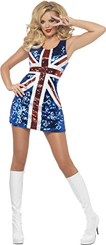 Fever, Damen All that Glitters Rule Britannia Kostüm, Kleid, Größe: M, (Kostüm Spice Girls)