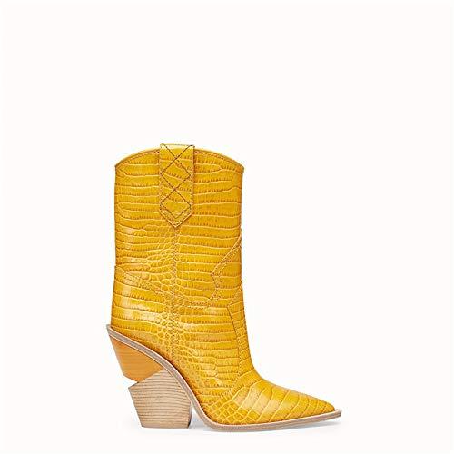 MENGLTX High Heels Sandalen Mode Geprägte Mikrofaser Leder Frauen Mitte Der Wade Stiefel Spitz Western Junge Stiefel Chunky High Heels Stiefel Schuhe 3 Gelb -