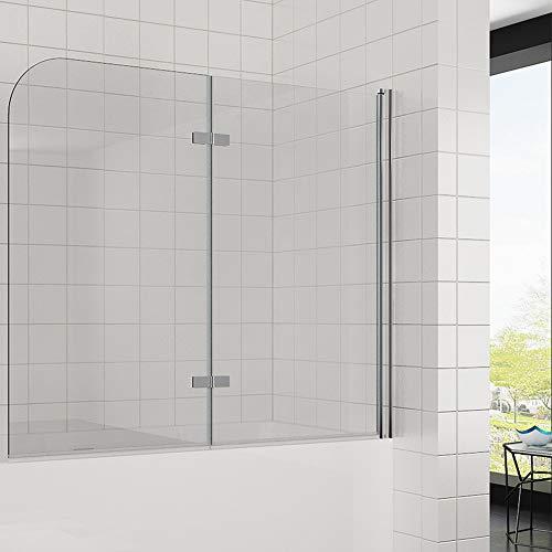 Elegant Duschwand für badewanne 140x120 cm(BxH), 2-teilig faltbar, 6 mm Aufsatz Duschabtrennung Schwingtür