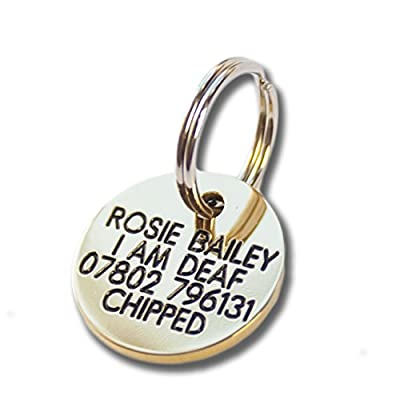 Deeply engraved solid brass 21mm circular dog tag by Engraving Studios