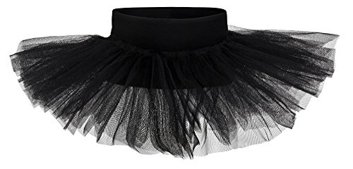 tanzmuster Kinder Tutu Ballettrock Pia aus weicher Baumwolle und Tüll zum Reinschlüpfen - Tuturock in schwarz, Größe:164/170