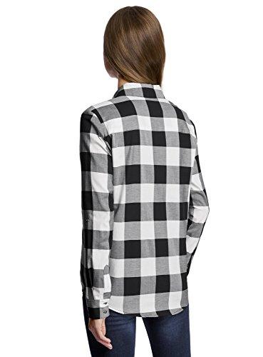 oodji Ultra Femme Chemise en Coton à Carreaux Noir (2910C)