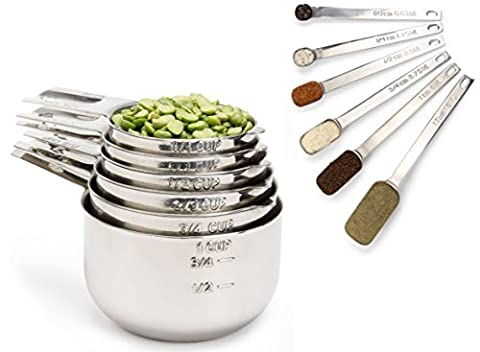 Simply Gourmet Stainless Steel Measuring Cups and Spoons Set (12-Piece). CHRISTMAS SALE! Lifetime Design!