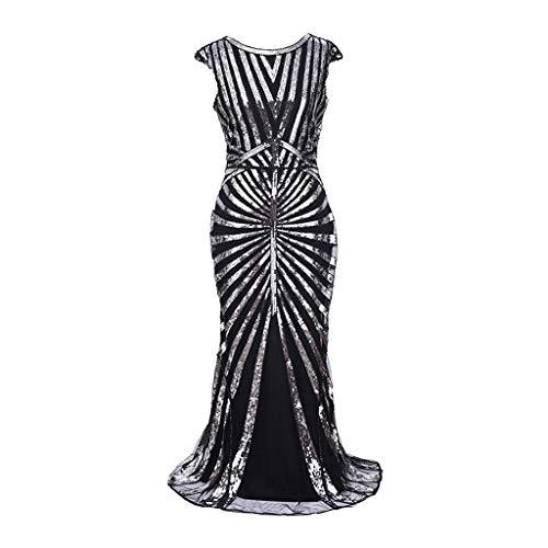 OHQ Pailletten Abendkleid Flapper Kleid Spleißen Mantel Kleid Maxikleid Glänzend Partykleid Damen Elegante Kleid Sexy Cocktailkleid Paillettenkleid Kostüm Kleid Langes Ballkleid - Sexy Silber Flapper Kostüm
