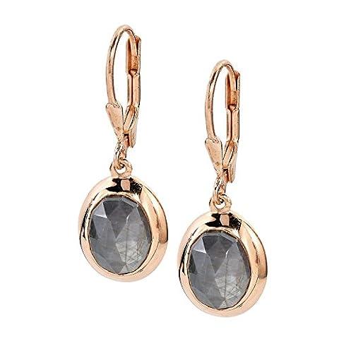 La Luna Design Damen-Ohrhänger Ohrringe Sterling-Silber 925 rosé vergoldet Saphir grau