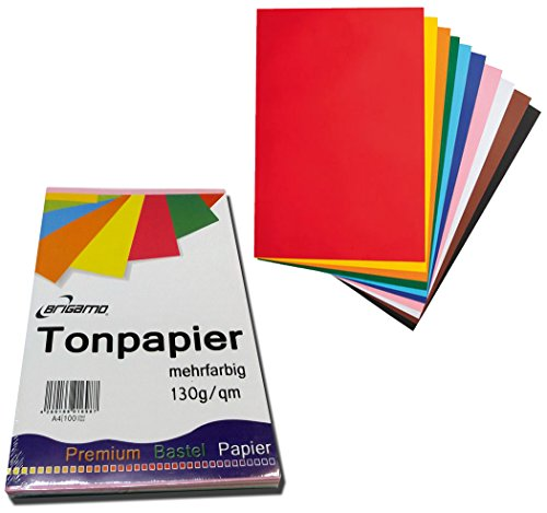 200 Blatt Tonpapier Bastelpapier A4 Farbig Sortiert 130 g / qm thumbnail