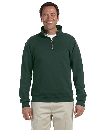 Jerzees Mens Super Sweats 50/50 Quarter-Zip Pullover (4528) -Forest GRE -L -