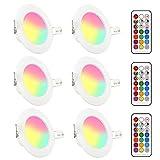 LED RGB Einbaustrahler 6 x 5W Leuchtmittel Warmweiß 2700K Deckenstrahler Deckenspots Deckenleuchte Einbauspots Deckeneinbauleuchte Deckeneinbaustrahler