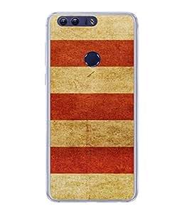PrintVisa Designer Back Case Cover for Huawei Honor 8 (Plain Fabric Red White Strip Desiner Cloth )