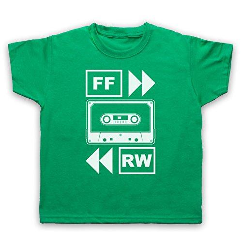 My Icon Art & Clothing Fast Forward Tape Cassette Camiseta para Niños, Verde, 3-4 Años