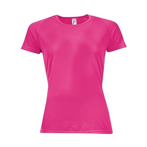 Sols Sporty Damen T-Shirt, Kurzärmlig Neonpink
