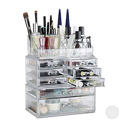Relaxdays Boîte rangement maquillage Make up organisateur cosmétiques tiroirs compartiments, transparent