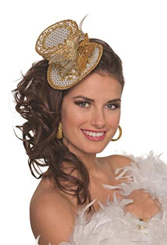 Karneval-Klamotten Pailletten-Hut Zylinder-Hut Mini klein Damen-Hut Luxus weiß Gold Cocktail-Party Hut