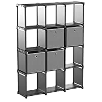 SONGMICS DIY Cube Storage Unit with 4 Storage Boxes, 12 Cubes Multifunctional Bookcase and Shoe Rack, Modular Design, Includes Rubber Mallet, 105 x 30 x 140 cm, Black LSN34BK