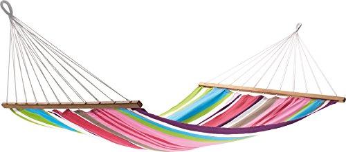 Jobek 25645 Stabhängematte Aruba, 100% Jobekcord, hellblau  grün  pink  weiß