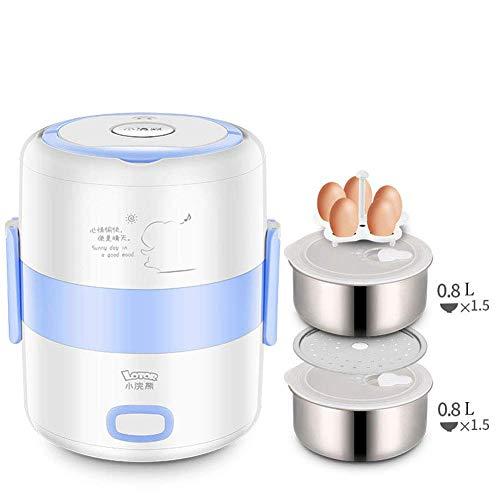 YANWE Robot De Cocina, MultifuncióN Olla Arrocera PortáTil, Caja De CalefaccióN De Acero Inoxidable(1.6L),Blue