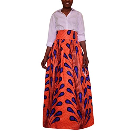 Frauen Print Chiffon hohe Taille Rock VENMO Party Festlich Ankara Maxi langer Rock Women Dress Boho Plissee Retro Maxi langer Rock-elastischen Bund Tanz-Kleid Cocktail Langrock Prinzessin (Orange, S) (Plissee-lange Volle Rock)