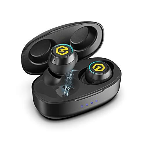Powerlocus tws auricolari bluetooth v5.0, wireless cuffie senza-fili riduzione del rumore auricolare sportivi hd stereo con custodia da ricarica, microfono cuffie in-ear per iphone,samsung,pc,laptop