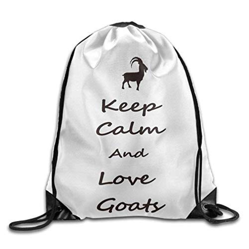 Etryrt Zaino con Coulisse,Borsa Palestra,Sacca Sportiva, Keep Calm And Love Funny Goats Drawstring Bags Funny Backpack Shoulder Bags Gym Sport Pack