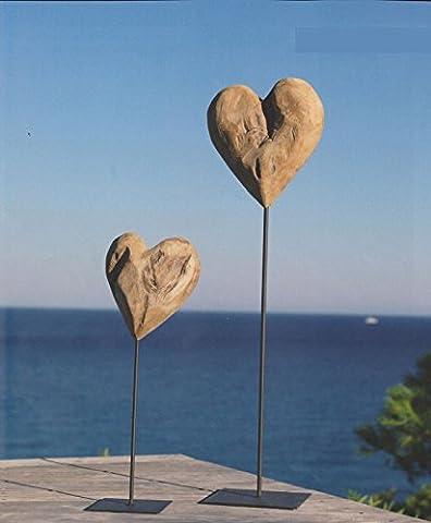 WMG Herz Teak Holz unfinish auf Fuß Metall schwarzbraun, Ø 50 cm (Herz Fuß)