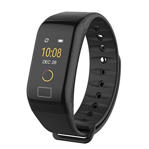 Fuibo Smartwatch, F1 Farbe Fitness Blutdruck Sauerstoff Pulsmesser Smart Watch Armband Intelligente Armbanduhr Sport Fitness Tracker Armband (Schwarz)