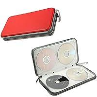 Hard CD DVD Storage Holder Case for 80 Discs. Durable Travel Organiser. (Red)