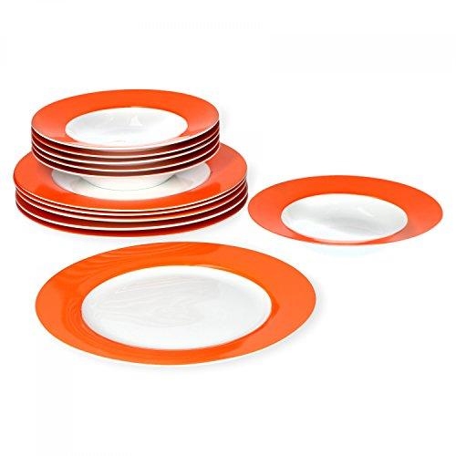 farbige teller Van Well Tafelservice 12-tlg. für 6 Personen Serie Vario Porzellan - Farbe wählbar, Farbe:orange