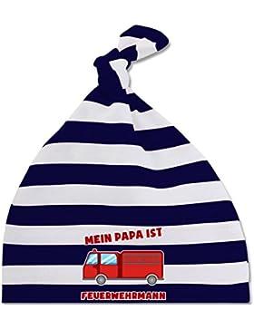 Bunt gemischt Baby - Mein Papa ist Feuerwehrmann - gestreifte Baby Mütze mit Knoten / Bommel für Jungen und Mädchen