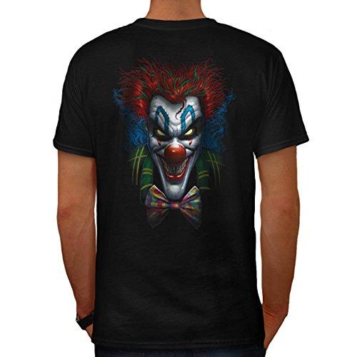 Clown Böse schaurig Horror Alptraum Herren M T-shirt Zurück | (Böse Kostüme Wilde Katze)